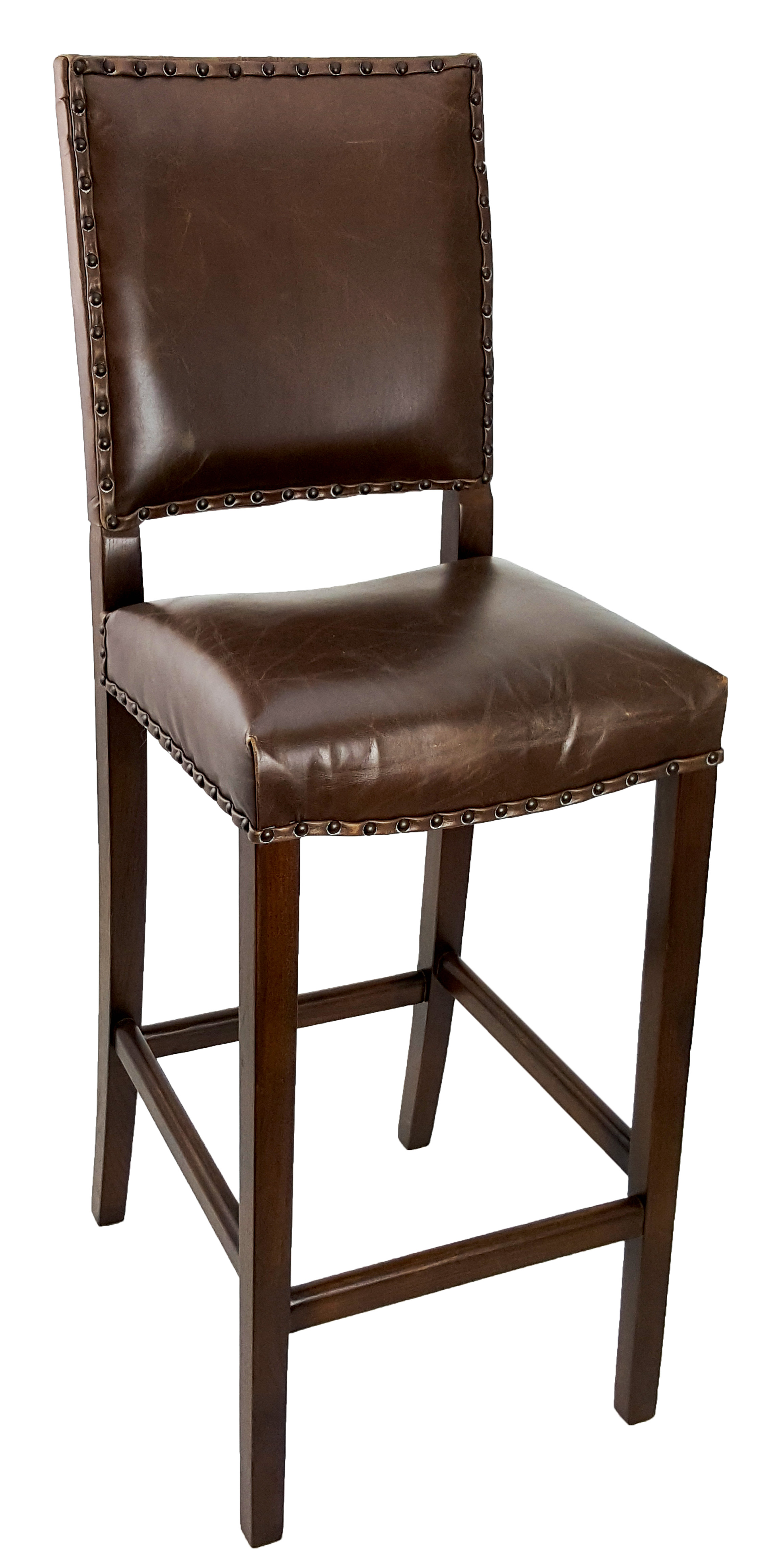 Antique Brown Leather Stool Rs 9779
