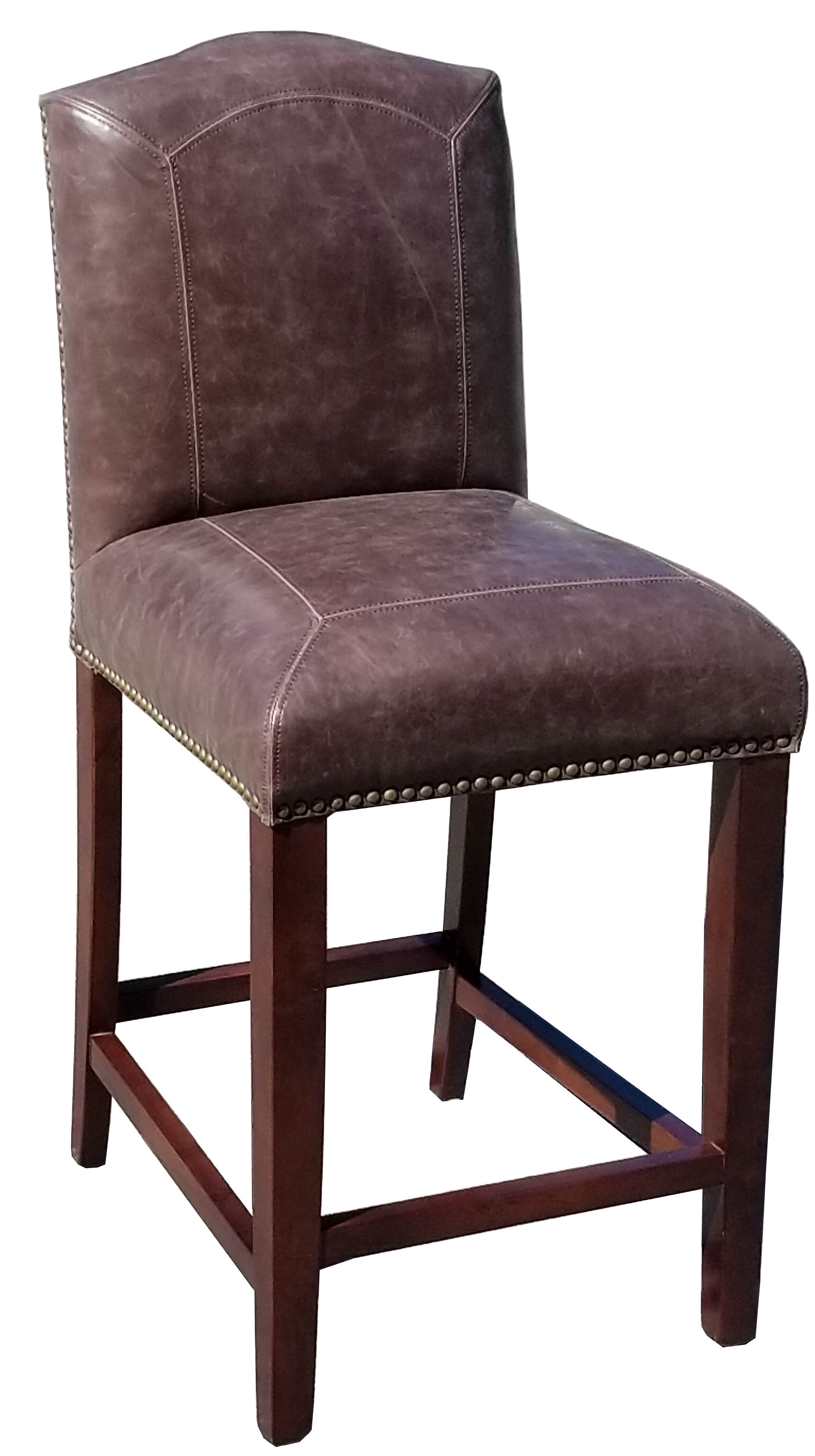 R 321 26 Quot Counter Stool In Distress Brown Leather