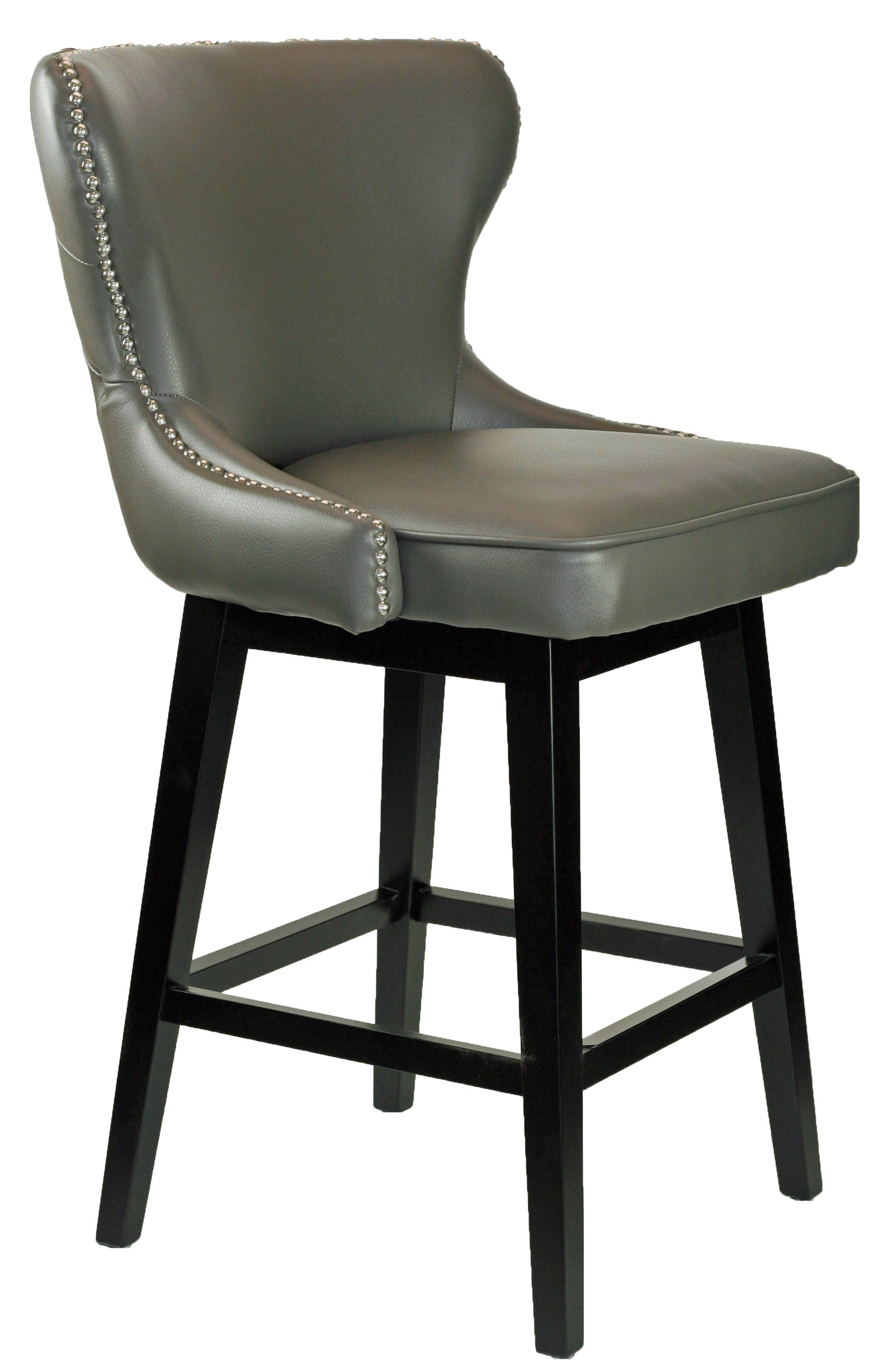Stools Bar Stools Grey Leather Swivel Counter Stool