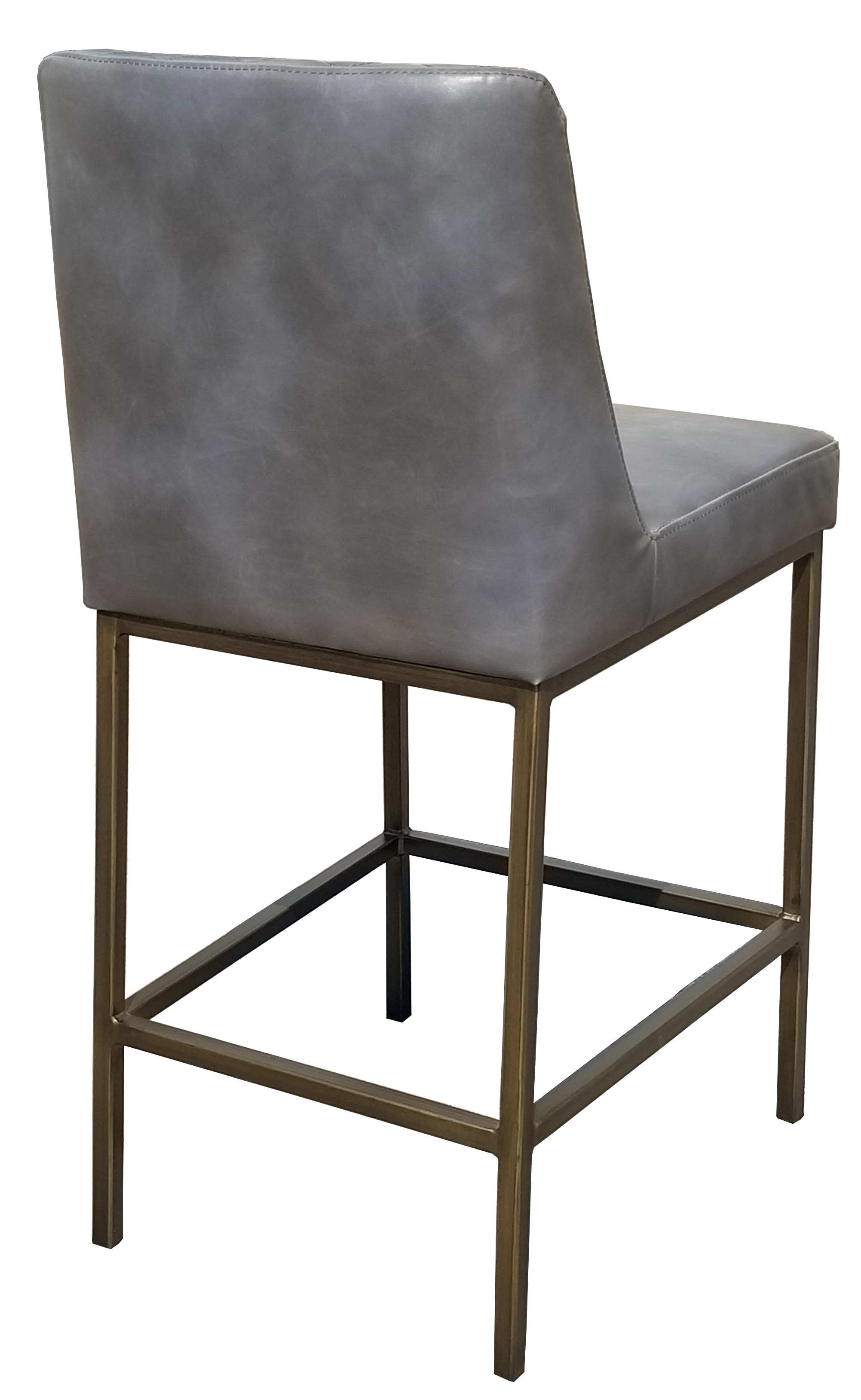 More Clearance Grey Leather Counter Stool With