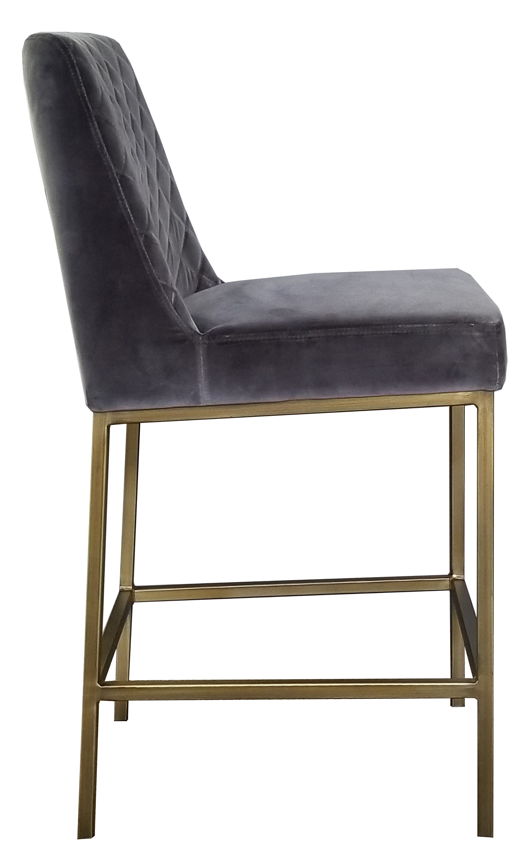 More Clearance Grey Velvet Counter Stool With Bronze