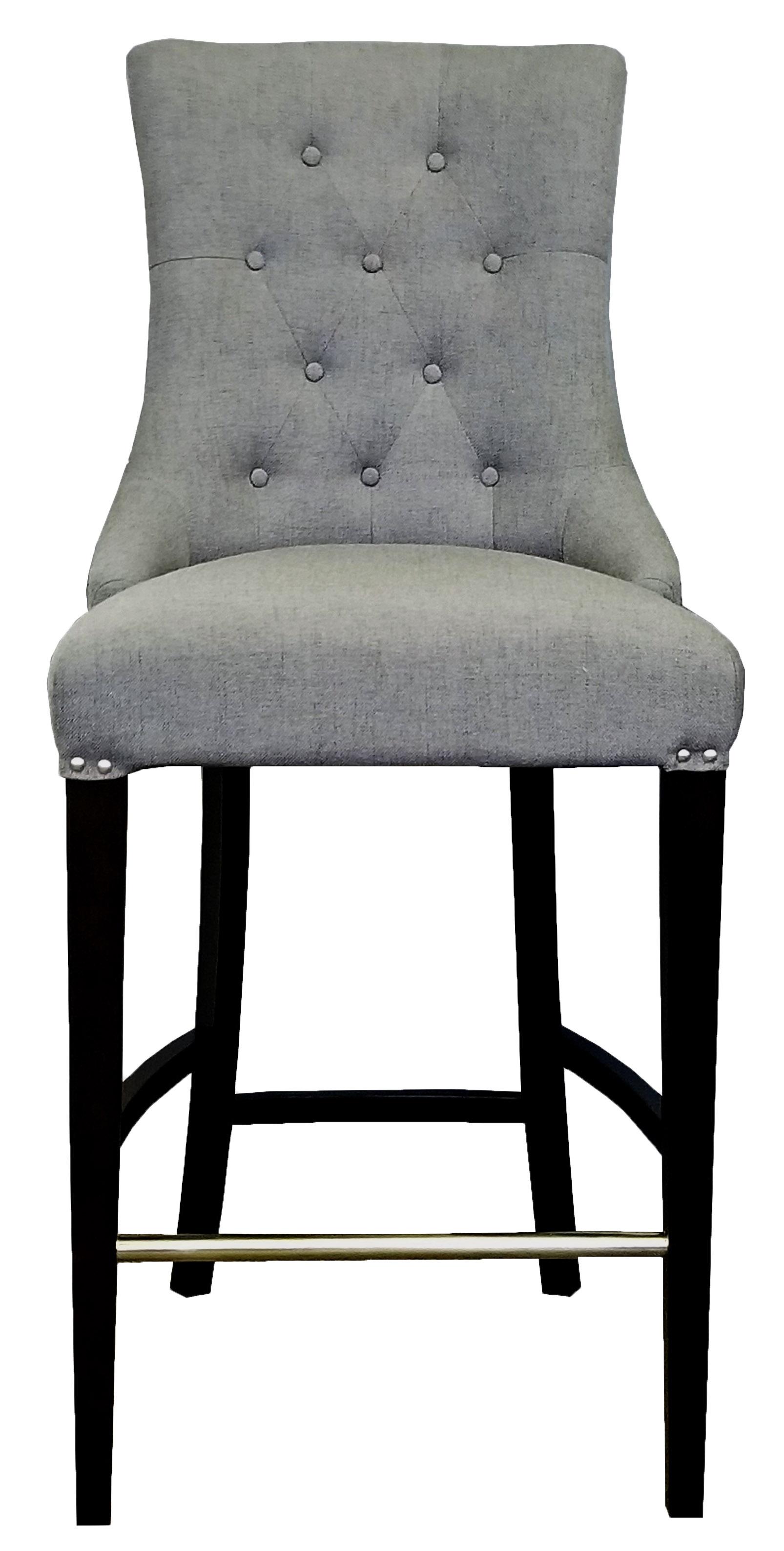 Strange Slate Grey Fabric Tufted Counter Stool W Brushed Silver Nail Head Ibusinesslaw Wood Chair Design Ideas Ibusinesslaworg