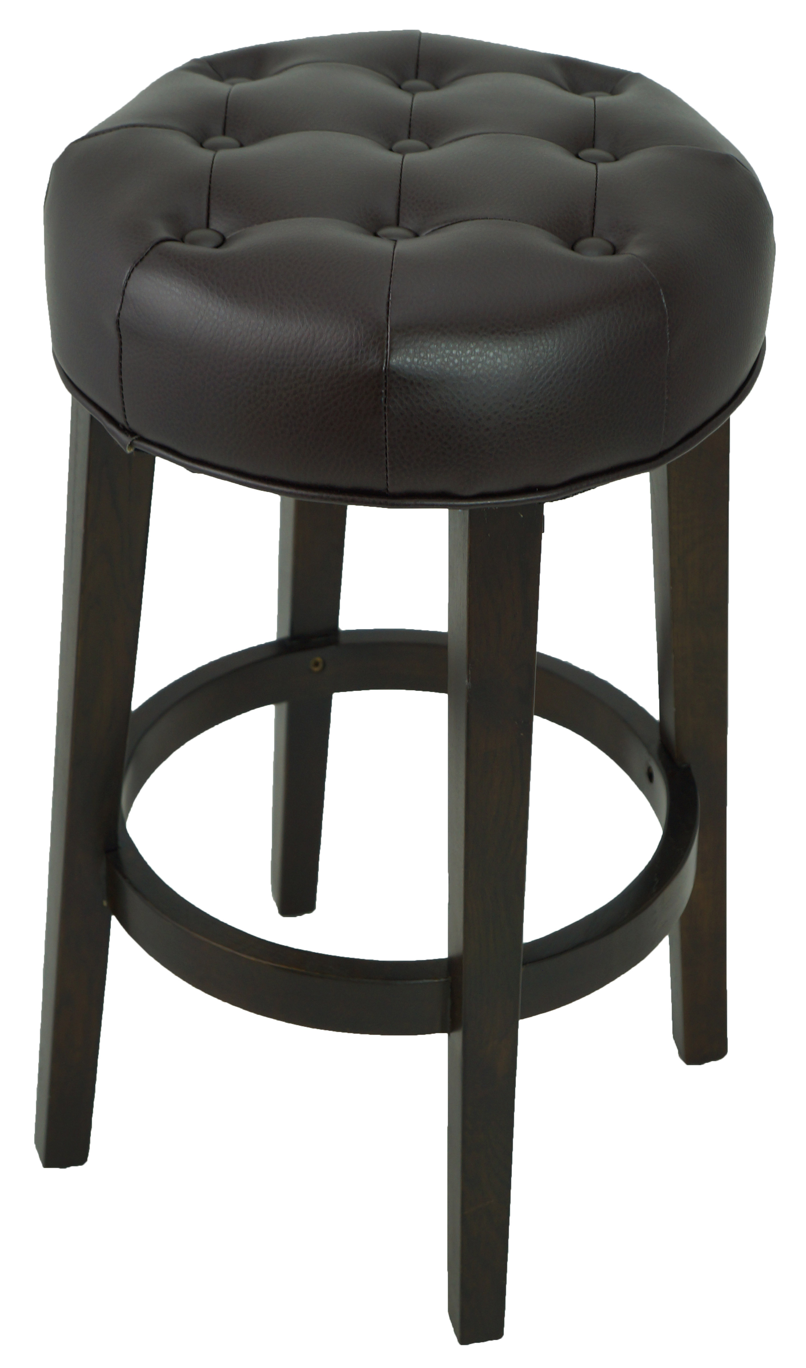 stools bar stools tufted backless counter stool in black leather artefac. Black Bedroom Furniture Sets. Home Design Ideas
