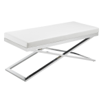SR-85962 Chrome Frame White Leather Bench